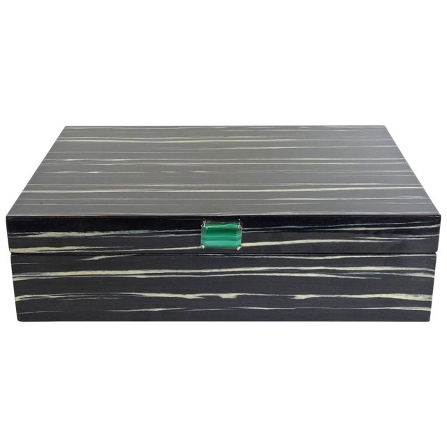 Amenity Box in Black and White Macassar With Malachite Knob by Fabio Ltd For Sale