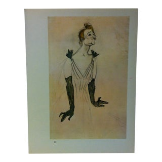 """Circa 1980 """"Yvette Guilbert Greets the Audience 1894"""" Color Print of a Toulouse-Lautrec Drawing For Sale"""
