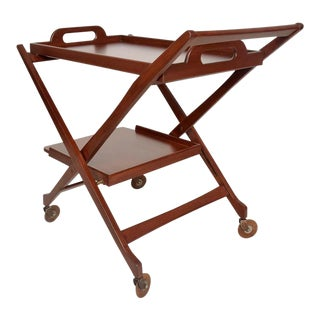 Italian Mahogany Wood Folding Service Cart For Sale