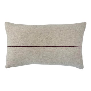 Italian FirmaMenta Eco-Friendly Burgundy and Cream Stripes Wool Lumbar Pillow For Sale
