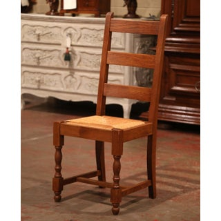 French Carved Oak Ladder Back Chairs With Rush Woven Seat, Set of Six Preview