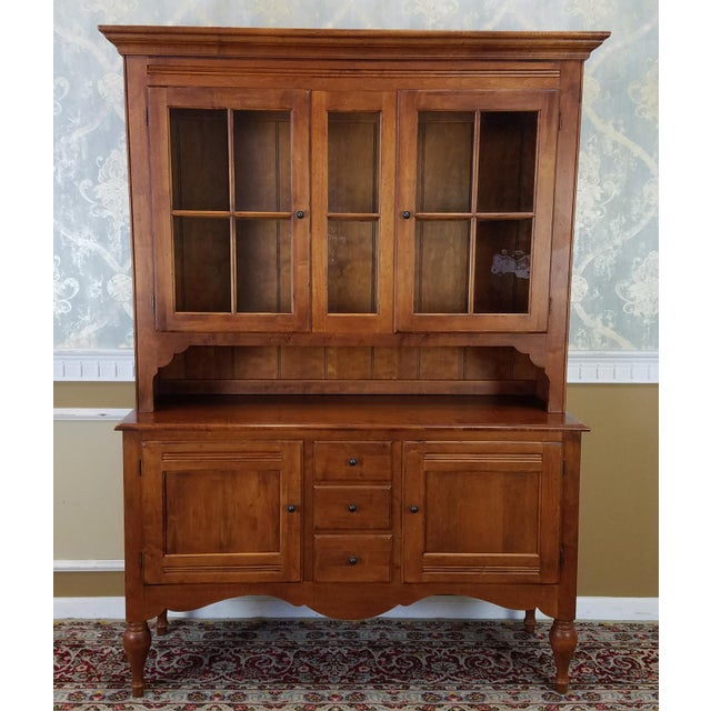 This is a very fine Ethan Allen Country Crossing dining room buffet with china cabinet top, models #17-6416 & 17-6418 in...