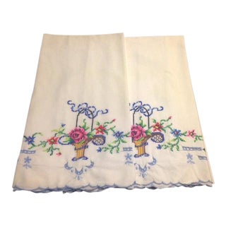 Vintage White & Multicolored Embroidery Pillowcases - Pair For Sale