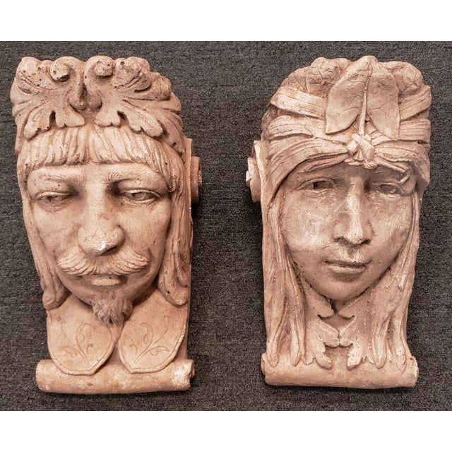 Late 19th Century Italian Classical Concrete Style Plaster Moor Head Wall Corbels - a Pair For Sale In New Orleans - Image 6 of 6