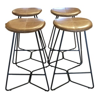 West Elm Leather Upholstered Iron Vase Contemporary Boho Counter Stools - Set of 4 For Sale