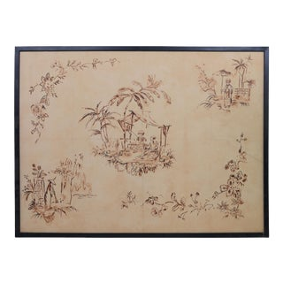 Vintage Chinoiseries Style Pattern Drawn on Board For Sale