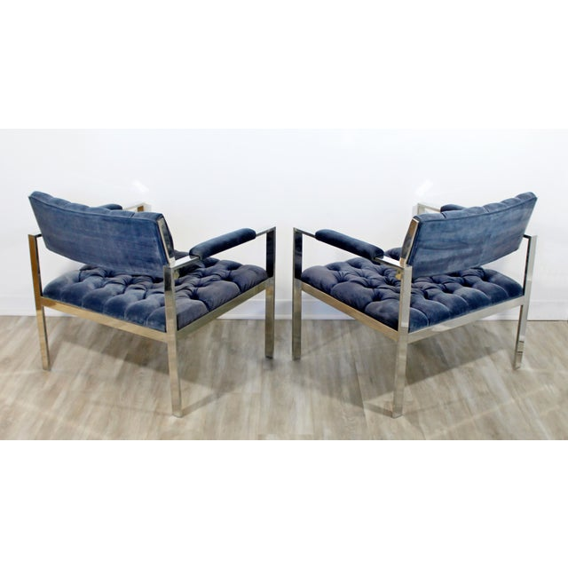 Metal 1970s Vintage Harvey Probber Mid Century Modern Chrome Lounge Chairs & Ottoman - Set of 3 For Sale - Image 7 of 12