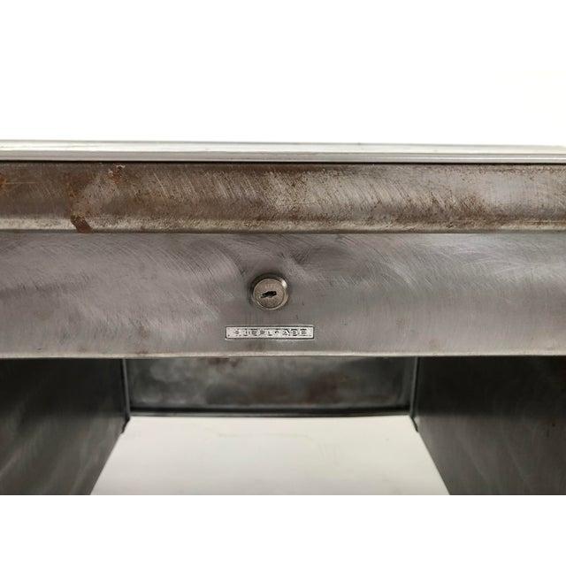 Vintage Steelcase Tanker Desk With Brushed Steel Surface For Sale - Image 9 of 12