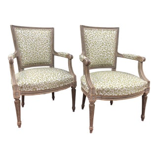 French Leopard Print Chairs - a Pair For Sale