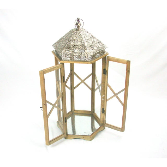 Tall Rustic Bohemian Candle Lantern with Lace Metal Roof - Image 2 of 4