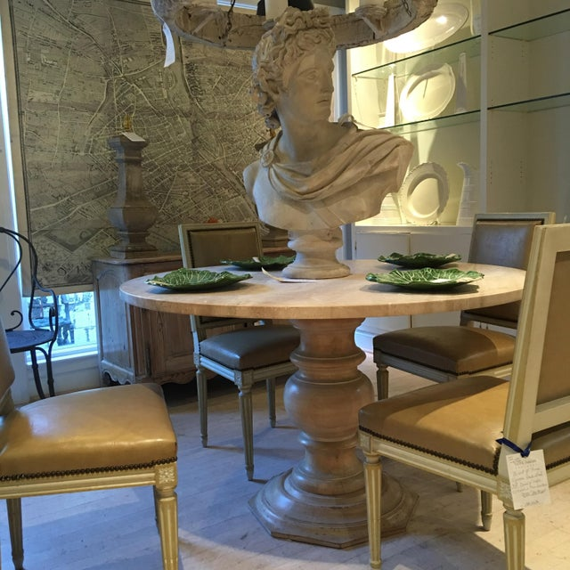 Wood Fruitwood Gueridon Dining Table or Center Table With a New Round Limestone To For Sale - Image 7 of 8