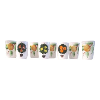 Mid-Century Ceramic Fruit Tumblers- Set of 8