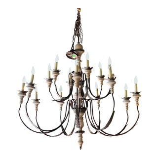 Distressed Wood and Iron 15 Light Chandelier For Sale