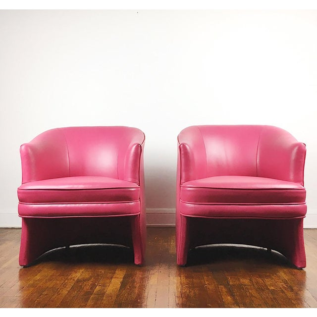Pair of Vintage Pink Leather Club Chairs - Image 2 of 11