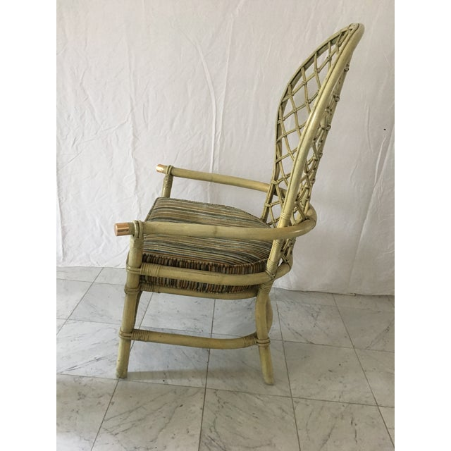 Vintage Green Rattan Fan Back Chair - Image 9 of 11