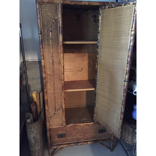 Antique Tortoise Shell Bamboo Armoire - Image 3 of 5