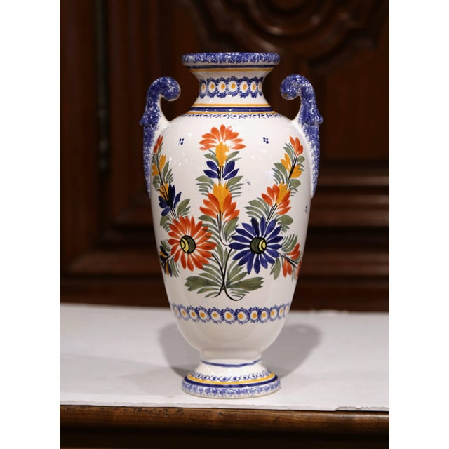 Henriot Quimper Tall Early 20th Century French Hand-Painted Faience Vase Signed Henriot Quimper For Sale - Image 4 of 9