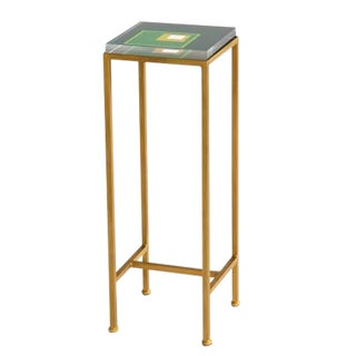 Contemporary Ellsworth Acrylic Drinks Table – Base: Gold, Top: Squares Evergreen/Lime For Sale