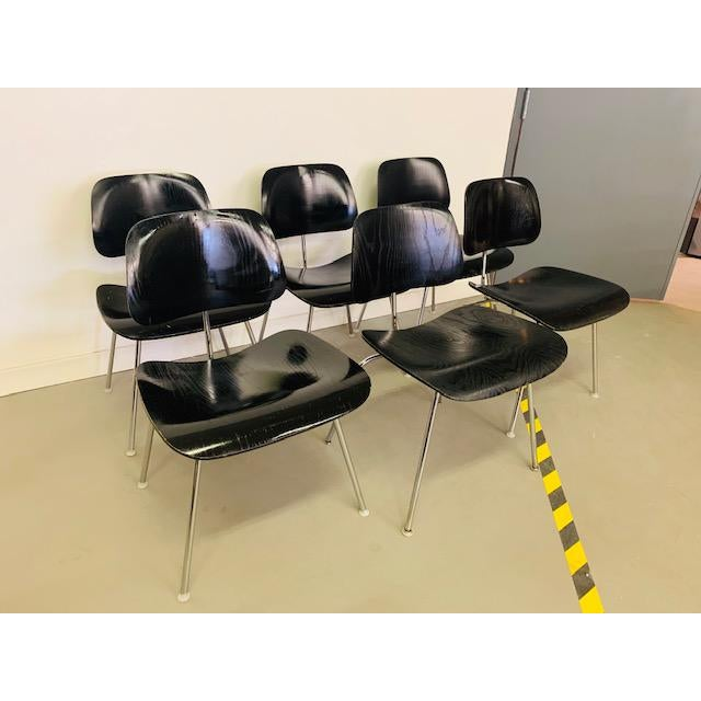 Set of 6 DCM (Dining Chair Metal) Chairs- an iconic mid-century modern design by Ray & Charles Eames for Herman Miller....