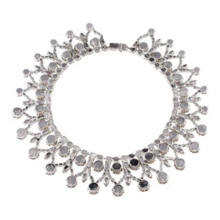 Dominique Statement Collar Necklace Ruby Red & Clear Rhinestones Designer For Sale