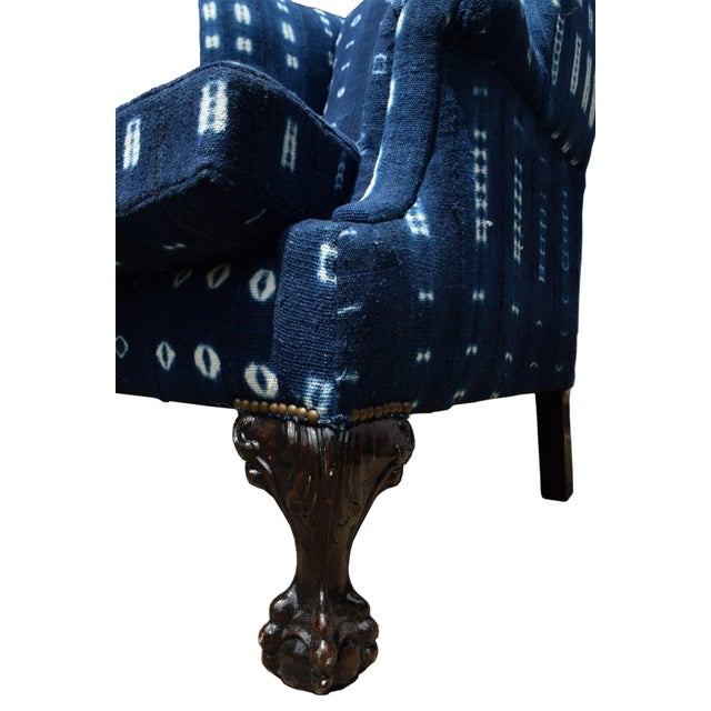 Georgian 20th Century Georgian Style Indigo Wing-Back Chair For Sale - Image 3 of 4