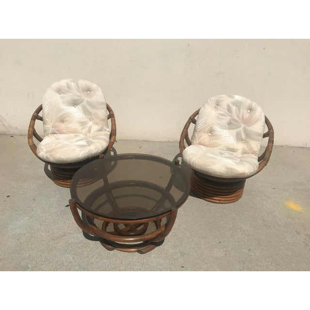 Vintage 60s Rattan Papasan Swivel Rocking Chairs & Table - Set of 3 For Sale - Image 4 of 9