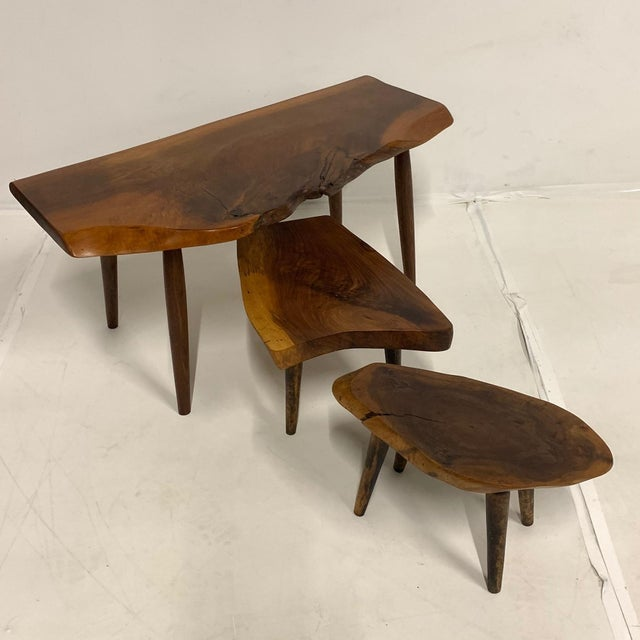 Set of 3 Studio Craft Walnut Live Edge Roy Sheldon Tablesand Signed For Sale - Image 9 of 13