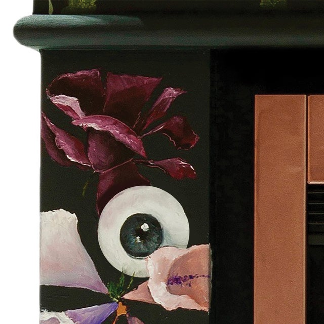 Atelier Miru The One Who Swallowed the Universe, Hand-Painted Electric Fireplace by Atelier Miru For Sale - Image 4 of 7