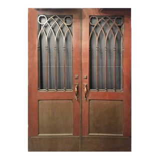 Early 20th Century Gothic Style Bronze Clad Doors - a Pair For Sale