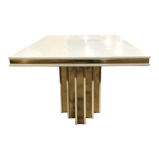 1970s Contemporary Roger Rougier Brass and Lacquered Dining Table For Sale