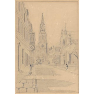 1930s Charleston Renaissance Drawing of Church Street For Sale