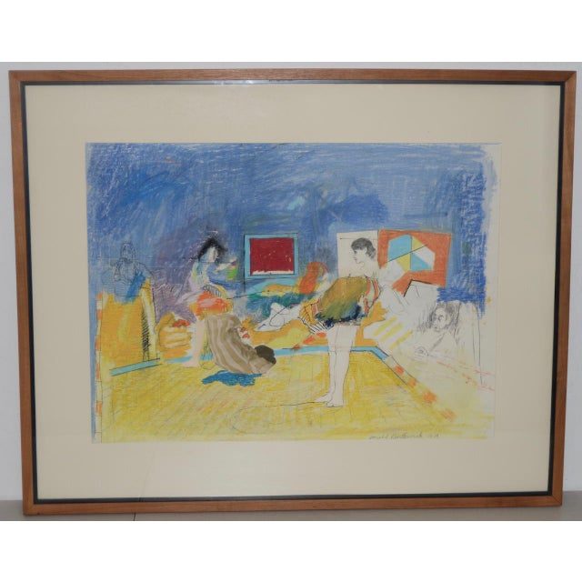 """Donald Borthwick (American, 20th C.) """"Nude in Room With Red Window"""" Mixed Media Original C.1964 For Sale - Image 12 of 12"""