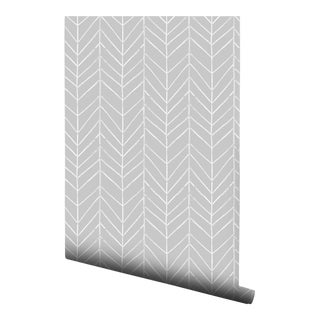 Gray Watercolor Chevron Pre-Pasted Wallpaper Double Roll