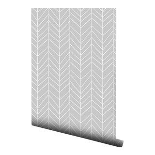 Gray Watercolor Chevron Pre-Pasted Wallpaper Double Roll
