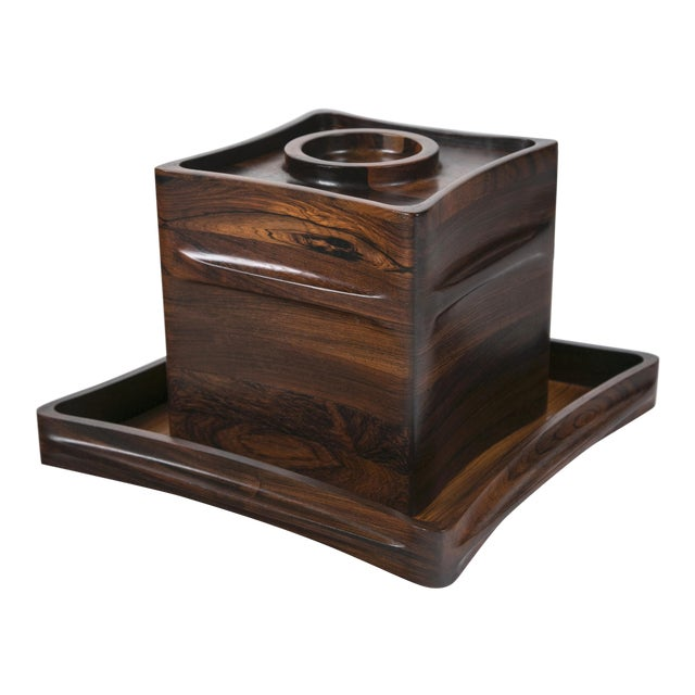 Rare Rosewood Ice Bucket and Tray by Jenns Quistgaard, Scandinavian Modern Circa 1970 For Sale