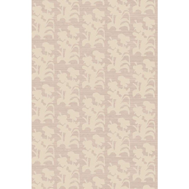 Suzani Floral Large Lilac and Natural Wallpaper For Sale