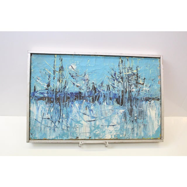 """Mid 20th Century Vintage Mid-Century """"Winter Woodlands"""" Abstract Oil Painting For Sale - Image 5 of 6"""
