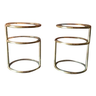 Vintage Swivel Brass Glass Side Tables - A Pair For Sale
