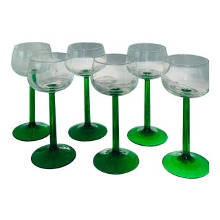 Vintage French 'Luminarc' Green Stem Wine Glasses in Original Box- Set of 6 For Sale