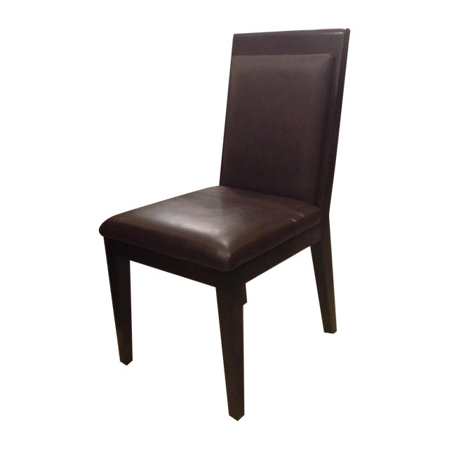 Doug Levin Brown Wood & Leather Side Chair - Image 1 of 7