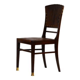 Elegant Viennese Secessionist Embossed Leather and Mahogany Side Chair For Sale