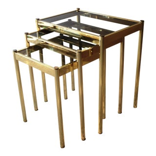 1970s Hollywood Regency Brass and Smoked Glass Nesting Tables - Set of 3 For Sale