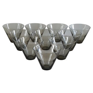 Modern Smoke Gray Cocktail Glasses - Set of 10 For Sale