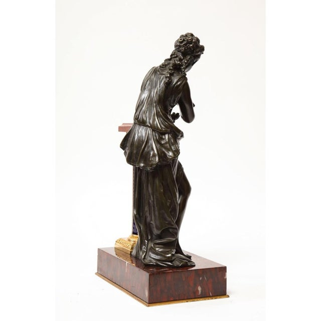 Mathurin Moreau Exquisite French Bronze, Rouge Marble, and Sèvres Style Porcelain Sculpture For Sale - Image 4 of 13