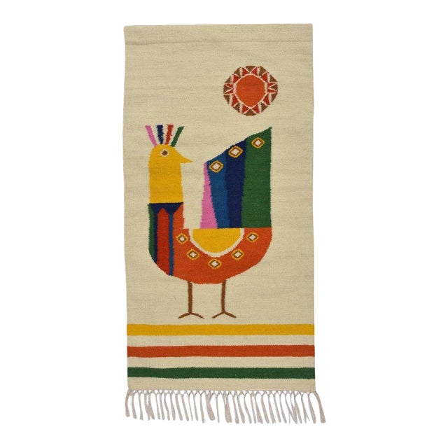 Mid Century Modern Style Wool Bird Tapestry Tassel Wall Hanging For Sale