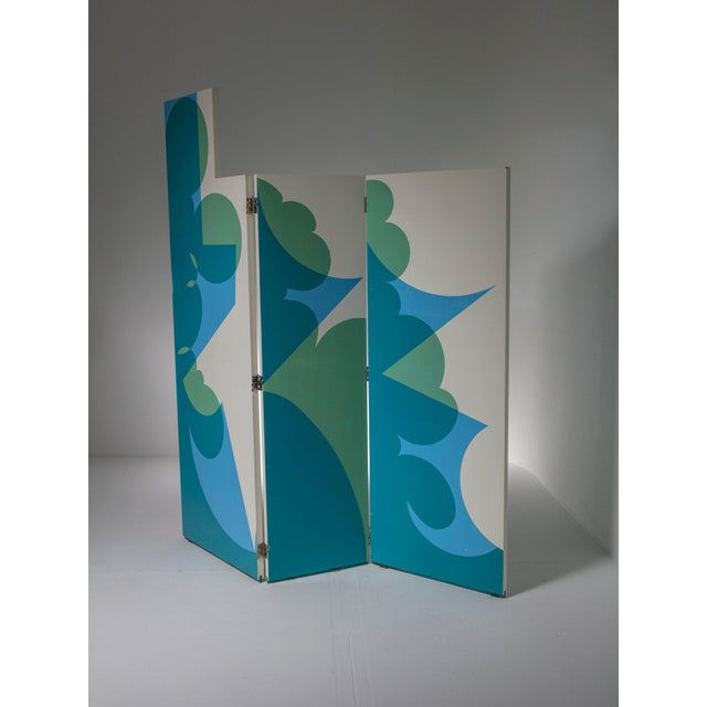 Marvellous Balla room divider by Giacomo Balla for Gavina. Three linked panels with decoration on both sides, can be...