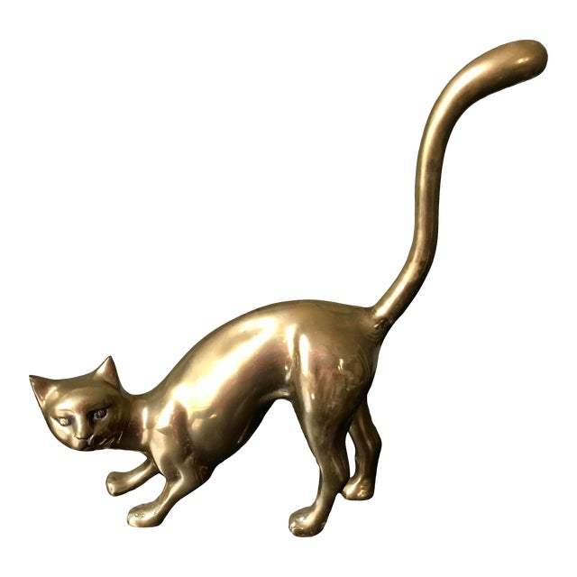1970s Vintage Hollow Brass Cat Figurine For Sale