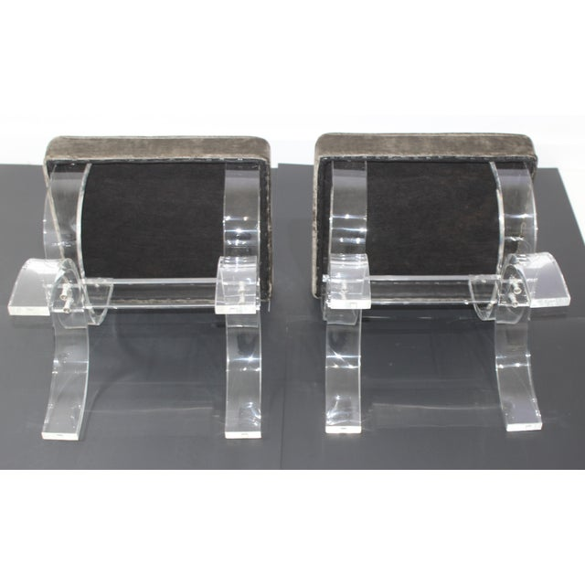 1970s Hollis Jones Style Benches Lucite and Crushed Velvet 1970s - a Pair For Sale - Image 5 of 11
