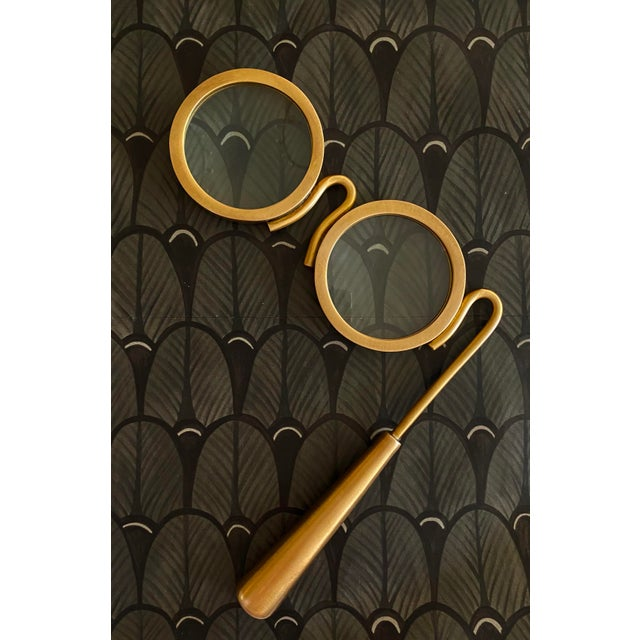 Modern Lorgnette Style Magnifying Glasses in Antique Brass For Sale - Image 3 of 6