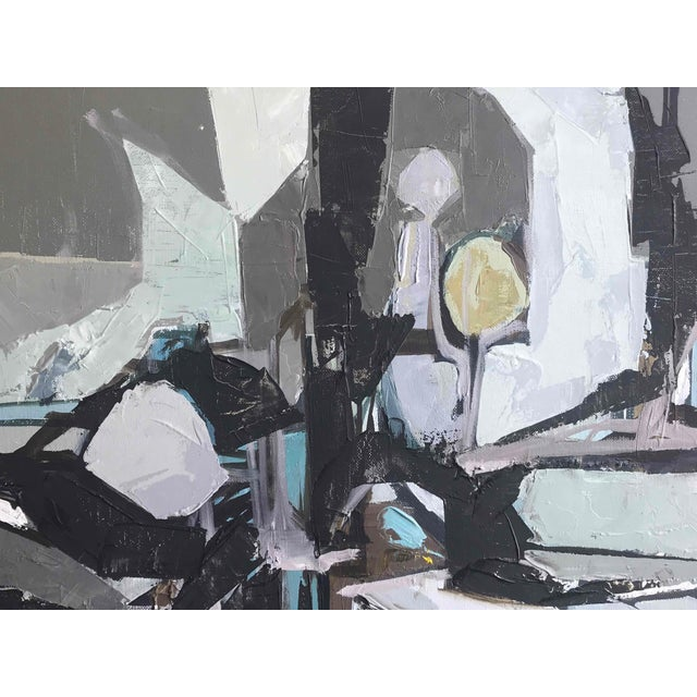 Mid-Century Modern Gray Abstract Painting by Artist Planet Circa 1960 France For Sale - Image 3 of 5